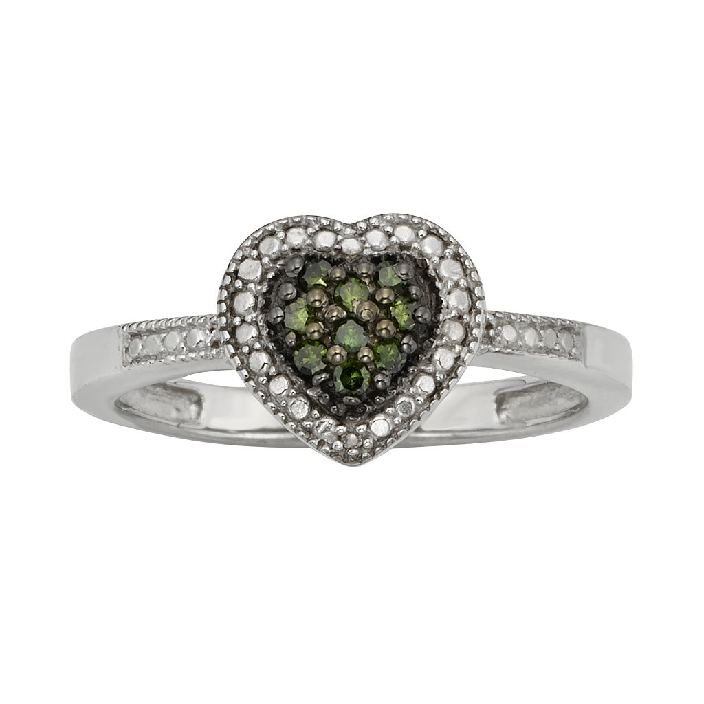 Sterling Silver 1/10-ct. T.W. Green & White Diamond Heart Ring