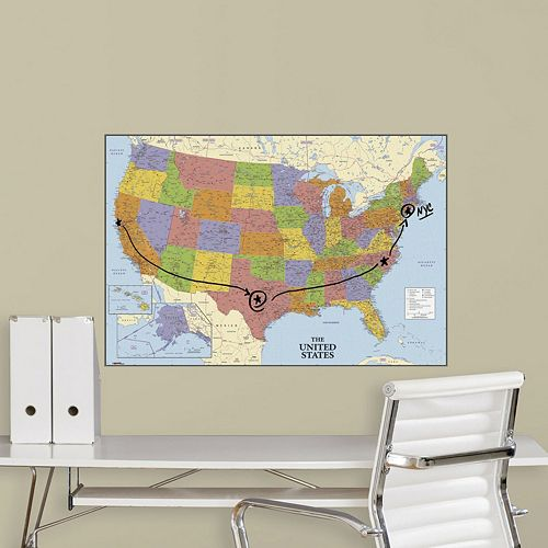 Dry Erase USA Map Peel & Stick Wall Sticker