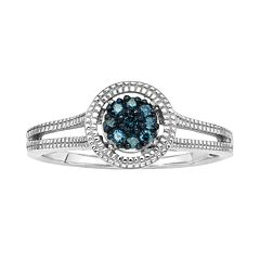 Sterling Silver 1/10-ct. T.W. Blue Diamond Cluster Ring