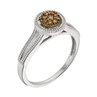 Sterling Silver 1/10-ct. T.W. Champagne Diamond Cluster Ring