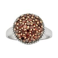 Sterling Silver 1-ct. T.W. Red & White Diamond Cluster Ring