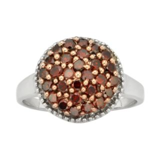 Sterling Silver 1-ct. T.W. Red and White Diamond Cluster Ring