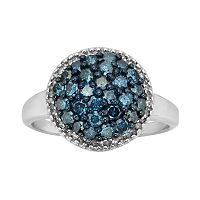 Sterling Silver 1 ctT.W. Blue & White Diamond Cluster Ring