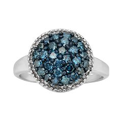 Sterling Silver 1-ct. T.W. Blue & White Diamond Cluster Ring