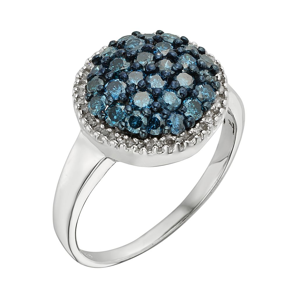 Sterling Silver 1-ct. T.W. Blue and White Diamond Cluster Ring