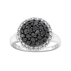 1 Carat T.W. Black & White Diamond Sterling Silver Frame Ring