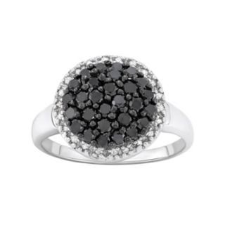 1 Carat T.W. Black and White Diamond Sterling Silver Frame Ring