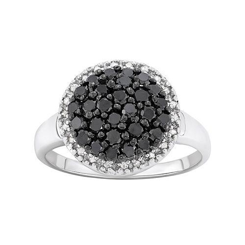 1 Carat T.W. Black & White Diamond Sterling Silver Frame Ring