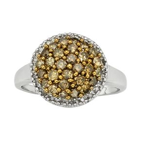 Sterling Silver 1-ct. T.W. Champagne and White Diamond Cluster Ring