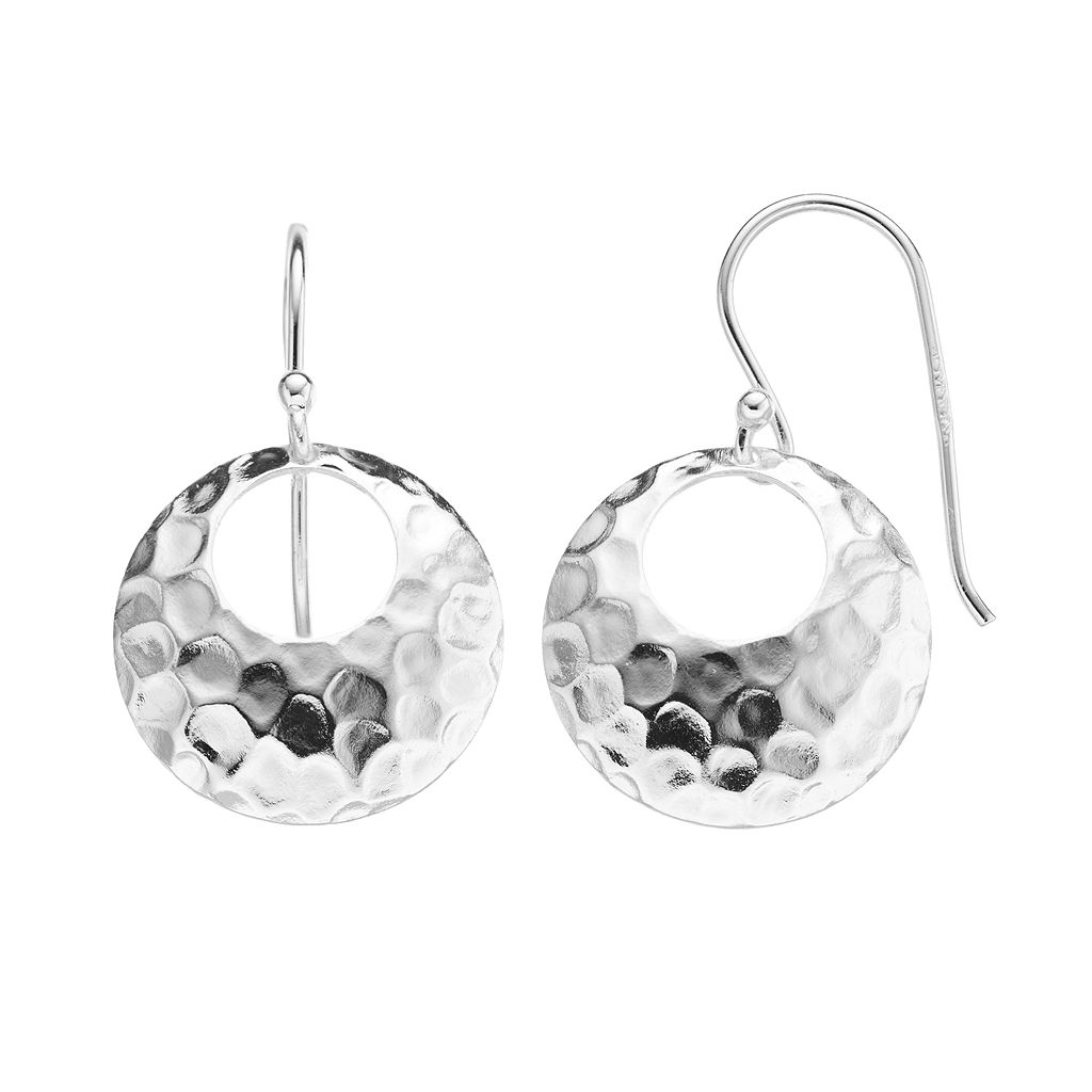 Sterling Silver Hammered Disc Drop Earrings
