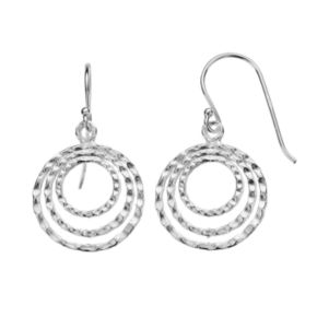 Sterling Silver Textured Circle Drop Earrings