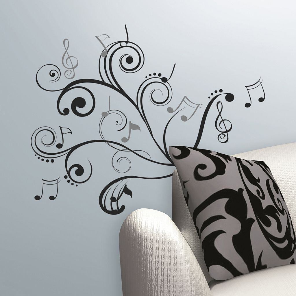 Music Note Scroll Peel & Stick Wall Stickers