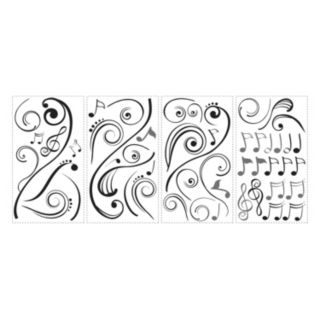 Music Note Scroll Peel and Stick Wall Stickers