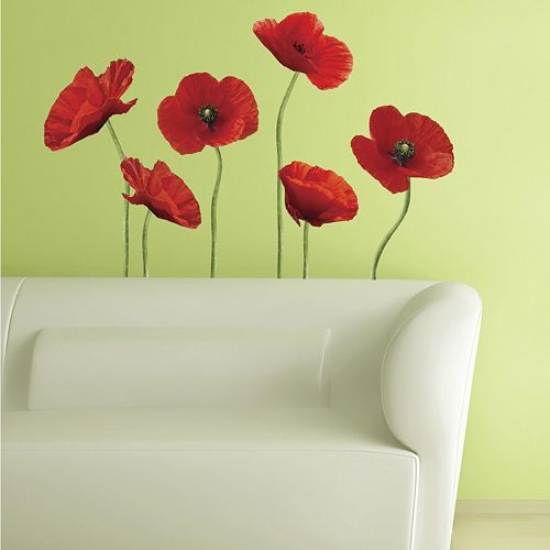 Poppies at Play Peel & Stick Wall Stickers