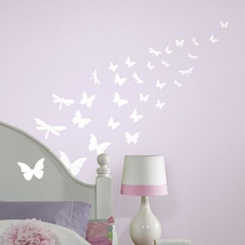 Butterflies & Dragonflies Glow-in-the-Dark Wall Stickers