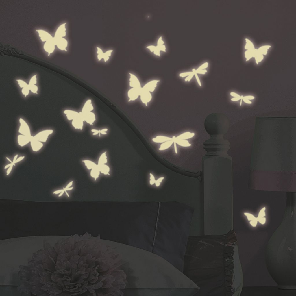 Butterflies and Dragonflies Glow-in-the-Dark Wall Stickers