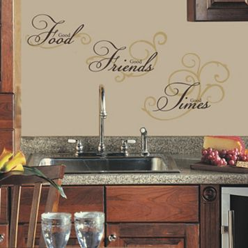 'Good Food, Good Friends, Good Times'' Peel & Stick Wall Stickers