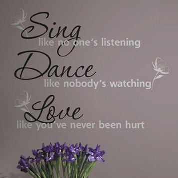 'Dance, Sing, Love'' Peel & Stick Wall Stickers