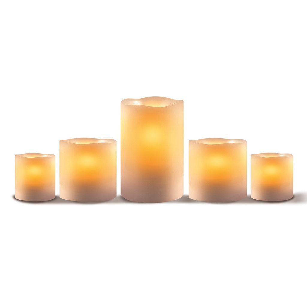 LED 5-piece Pillar Candle Set