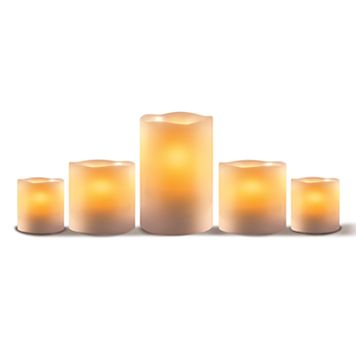 LED 5-piece Pillar Candle Set