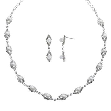Crystal Allure Necklace & Drop Earring Set