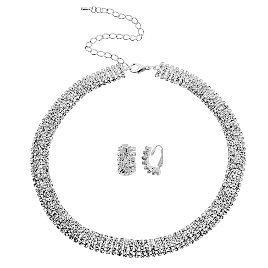 Crystal Allure Collar Necklace & Stud Clip-On Earring Set