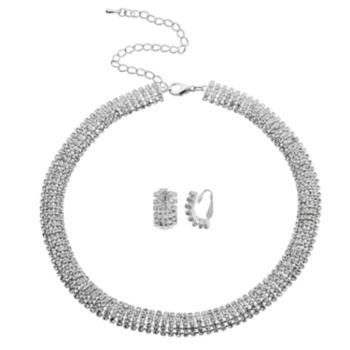 Crystal Allure Collar Necklace and Stud Clip-On Earring Set