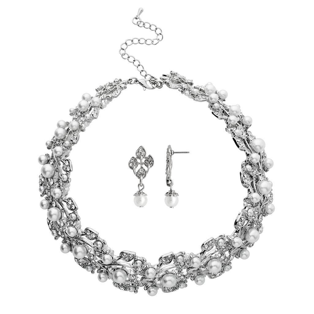 Crystal Allure Vine Collar Necklace & Drop Earring Set