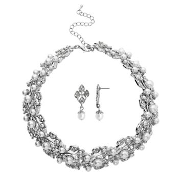 Crystal Allure Vine Collar Necklace & Drop Earring Set