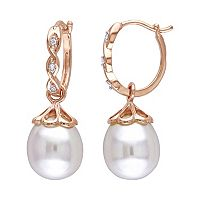 10k Rose Gold Freshwater Cultured Pearl & Diamond Accent Drop Earrings