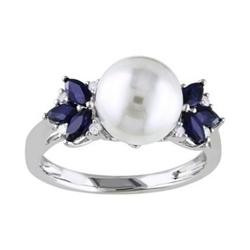 10k White Gold Freshwater Cultured Pearl, Sapphire & Diamond Accent Ring