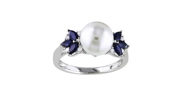 Diamond Rings For Sale Kohls: 10k White Gold Freshwater Cultured Pearl, Sapphire And