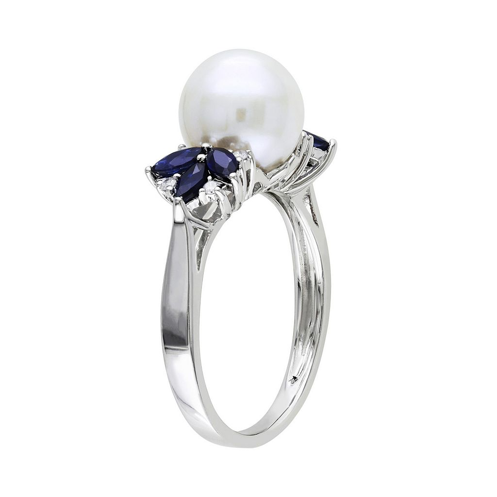 10k White Gold Freshwater Cultured Pearl, Sapphire and Diamond Accent Ring