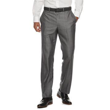 Men's Billy London Slim-Fit Sharkskin Flat-Front Charcoal Suit Pants