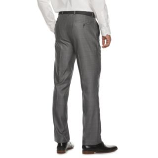 Men's Billy London Slim-Fit Sharkskin Flat-Front Charcoal Suit Pants