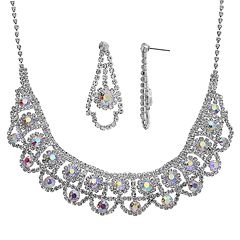 5b1351bc28 Crystal Allure Bib Necklace   Drop Earring Set