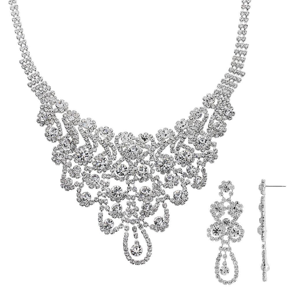 Crystal Allure Bib Necklace & Drop Earring Set