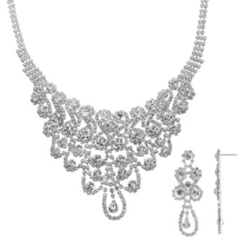 Crystal Allure Bib Necklace and Drop Earring Set