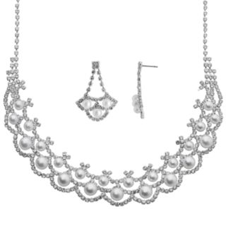Crystal Allure Silver-Plated Necklace and Drop Earring Set