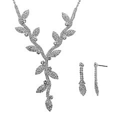 Crystal Allure Vine & Leaf Y Necklace & Drop Earring Set