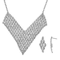 Crystal Allure V Bib Necklace & Kite Drop Earring Set