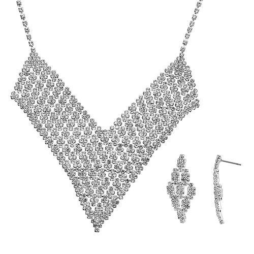 Crystal Allure V Bib Necklace & Kite Drop Earring Set