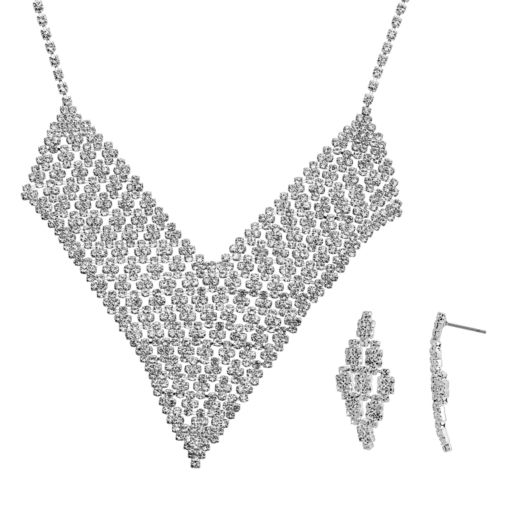 Crystal Allure V Bib Necklace and Kite Drop Earring Set