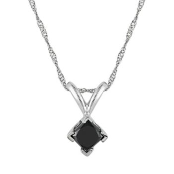 Stella Grace 14k White Gold 1/2-ct. T.W. Black Diamond Solitaire Pendant