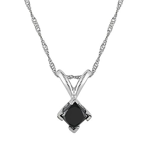 14k White Gold 1/2-ct. T.W. Black Diamond Solitaire Pendant