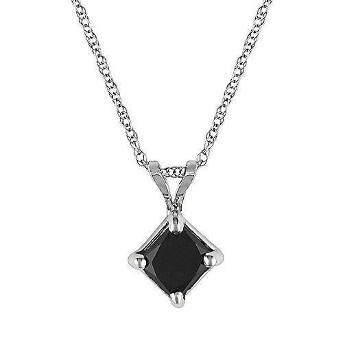 10k White Gold 1-ct. T.W. Black Diamond Solitaire Pendant