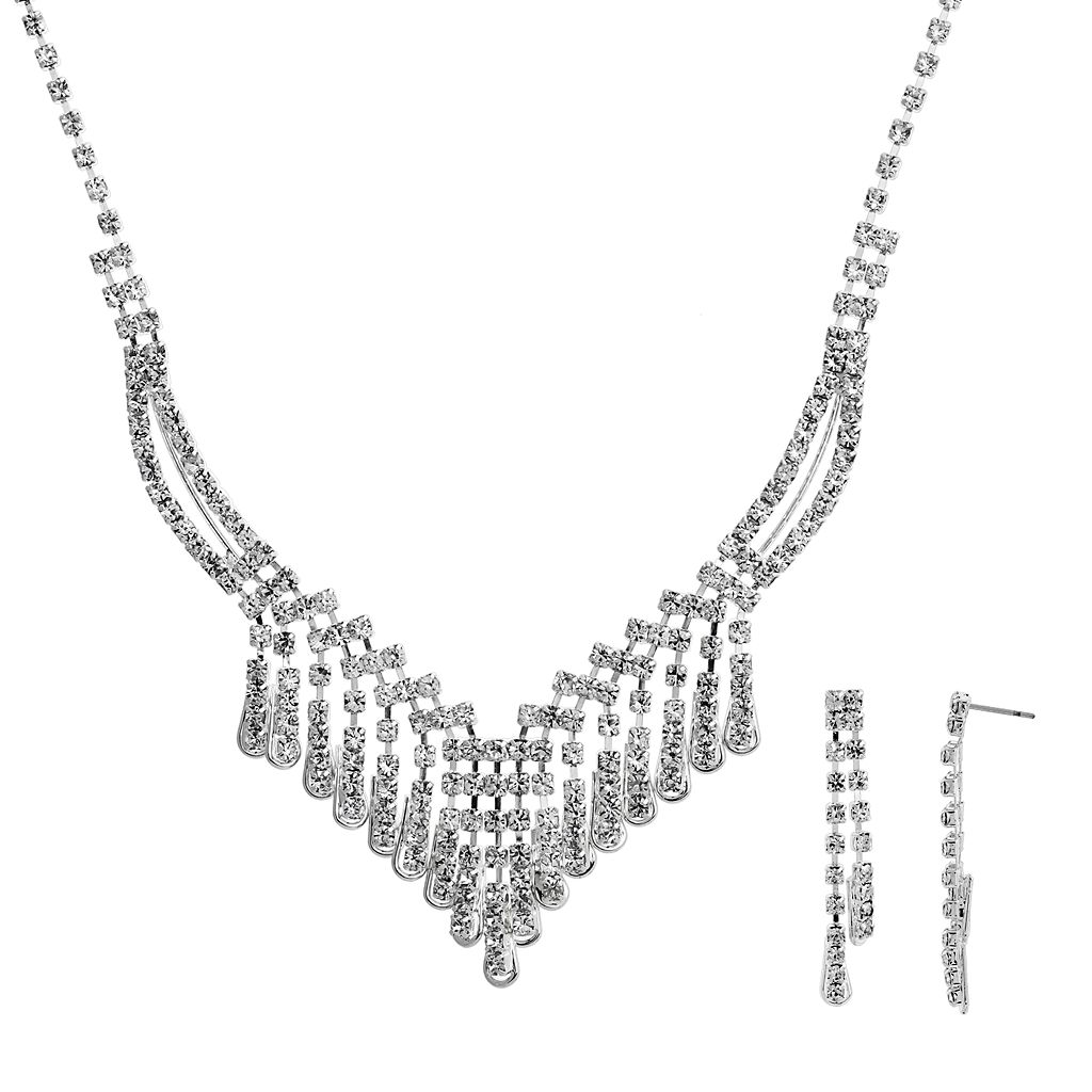 Crystal Allure V Bib Necklace & Linear Drop Earring Set