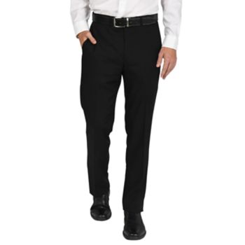 Men's Billy London Slim-Fit Flat-Front Black Suit Pants