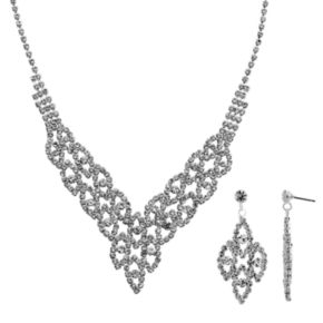 Crystal Allure V Bib Necklace and Drop Earring Set