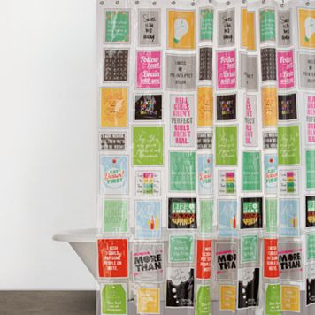 Just Sayin' Think Outside the Box Vinyl Shower Curtain